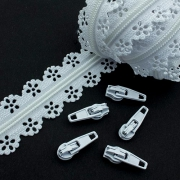 Schieber für Spitzen-Reißverschluss weiß 3mm
