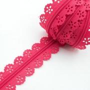 Spitzenreißverschluss pink 3mm Meterware