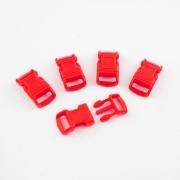 5 Stück Steckschnalle 10 mm gebogen rot