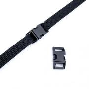 Metall-Steckschnalle 15mm schwarz gebogen