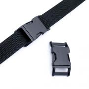 Metall-Steckschnalle 25mm schwarz gebogen