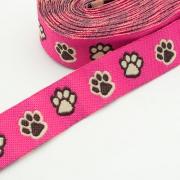 Webband Pfoten pink 16mm