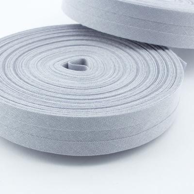 Schrägband hellgrau aus Baumwolle 20mm