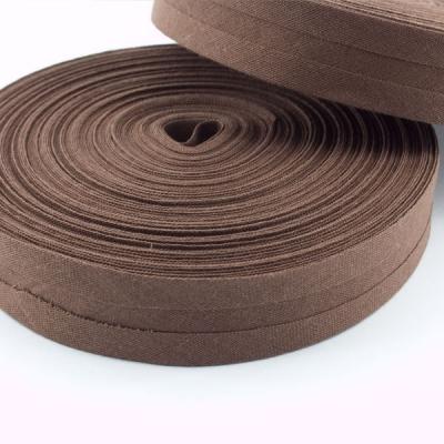 Schrägband dunkelbraun aus Baumwolle 20mm