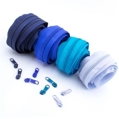 Reißverschluss-Set blau 5mm