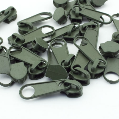 10 Stück Reißverschlussschieber oliv 8mm