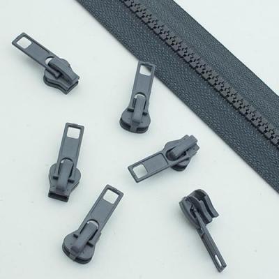 10 Stück Schieber grau für 5mm Profil-Reißverschluss