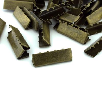 10 Stück Gurtband Endstück 30mm altmessing