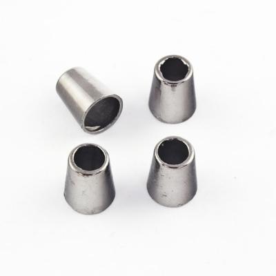 4 Stück Kordel-Endstück aus Metall schwarz brüniert