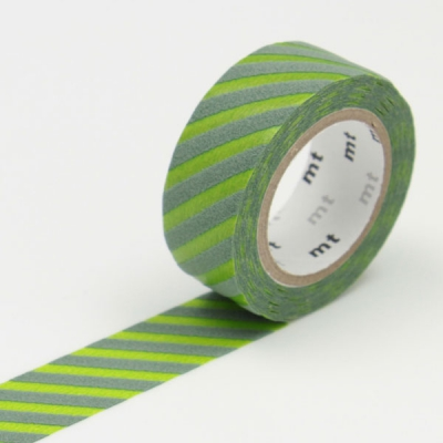 3m Flocky Tape mt fab 15mm Stripe Light Green + Moss Green
