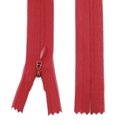 Nahtverdeckter Reißverschluss 20cm rot, 5 Stück