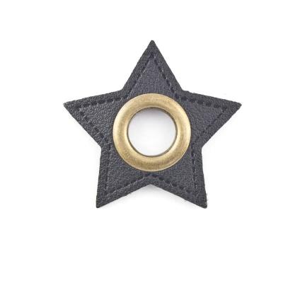 Ösen-Patches schwarz Stern 10mm - Öse altmessing