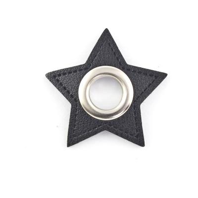 Ösen-Patches schwarz Stern 10mm - Öse silber