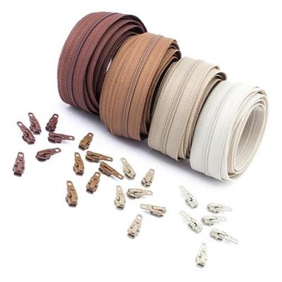 12m Opti Reißverschluss Set Brauntöne 3mm