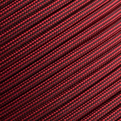 15m Paracord 550 Typ III imperial red & black stripe
