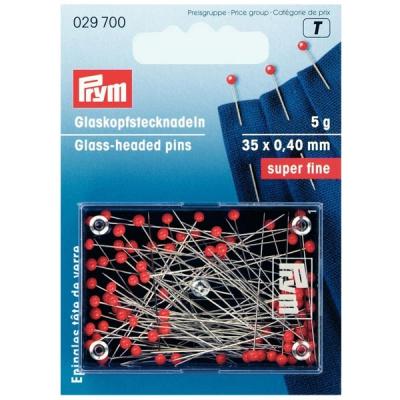 Prym Glaskopf-Nadeln super fine 35x0,40 rot 029700