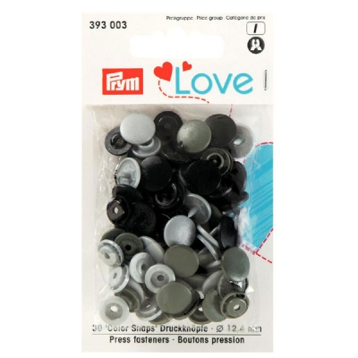 Prym Love Color Snaps 30 Stk. grau, schwarz 393003