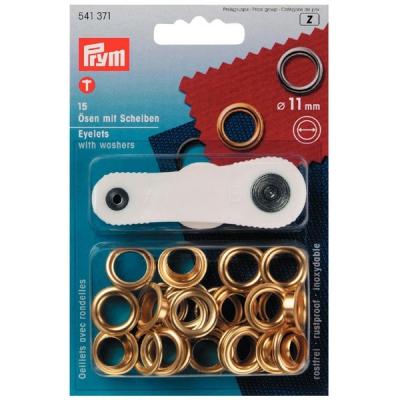 Prym Ösen mit Scheiben 11mm gold 541371