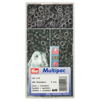 Prym Ösen mit Scheiben Multipac 5mm brüniert 542416