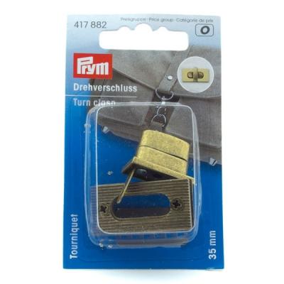 Prym Drehverschluss eckig 35mm altmessing 417882